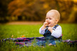 Eating in nature - happy baby