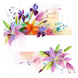 Floral background with watercolor flowers