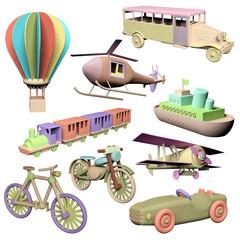 Fun set of 3d wooden transportation toys