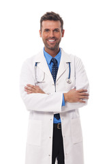 Portrait of candid male doctor .