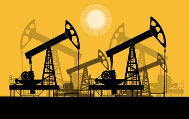 Нефтяные качалки.Контурная векторная иллюстрация