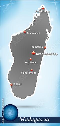 Madagaskar mit abstraktem Hintergrund
