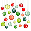 Advent Calendar Green/Red/Silver Christmas Balls