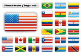 Extra glossy flags set - America