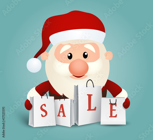 Santa with shopping bags background