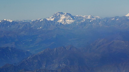 Cervino Mountain range south side Italy aerial shot