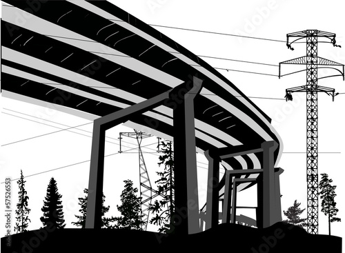 trestle bridge and pylons illustration