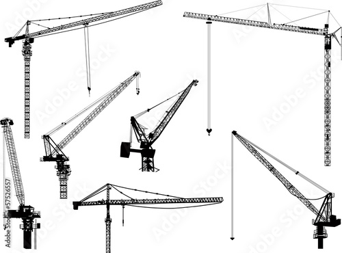 seven black building cranes isolated on white
