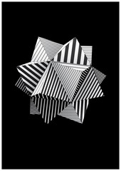 Polyhedron with black and white striped faces