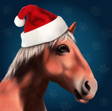 3D Horse with Santa Claus Hat Graphic