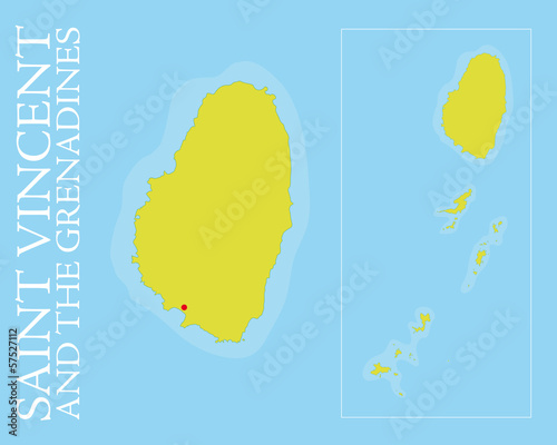 Saint Vincent and the Grenadines islands Vector Map
