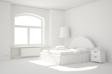 Empty white bed room with window and heating radiator