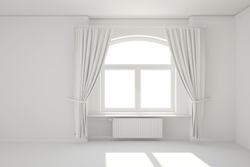 Empty white room with window and heating radiator