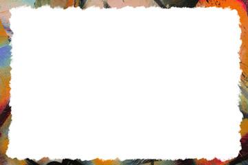 Unique multicolour border frame of artistic strokes of paint