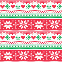 Nordic seamless knitted christmas red and green pattern