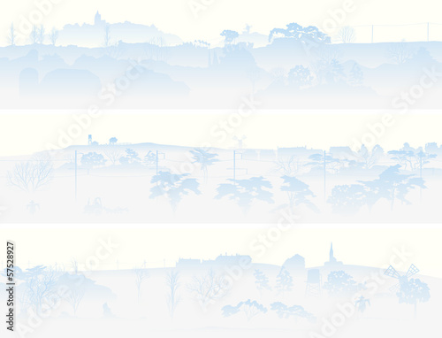Horizontal banners of misty valley.