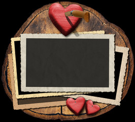 Romantic Photo Frames on Section of Tree Trunk