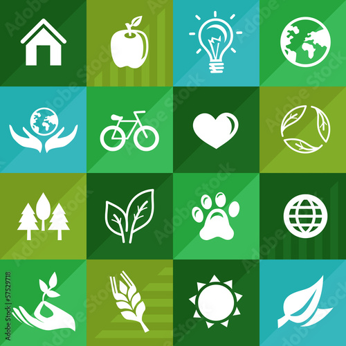 Vector ecology icons and signs in flat retro style
