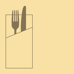 Knife, fork and napkin on yellow background