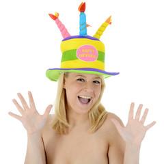 "Frau mit Geburtstagshut ""Happy Birthday"""
