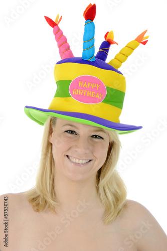 Frau mit Hut zu Geburtstag Happy Birthday