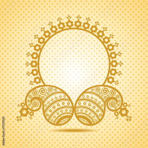 Traditional asian paisley design with copy-space stock vector