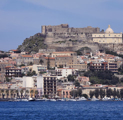 Italy, Sicily, view of Milazzo town from the sea