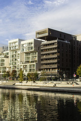 Modern apartment buildings on waterfront