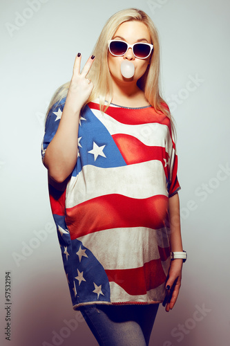 American Mom Concept: pregnant woman in american flag dress