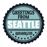 Greetings from Seattle label