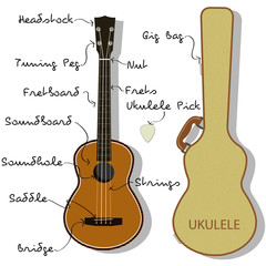 Ukulele Parts with Gig Bag