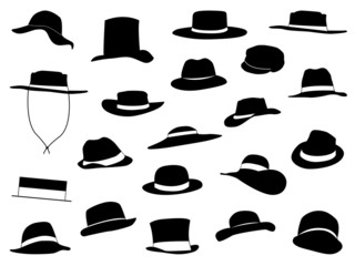 Old and new hats set illustrated on white