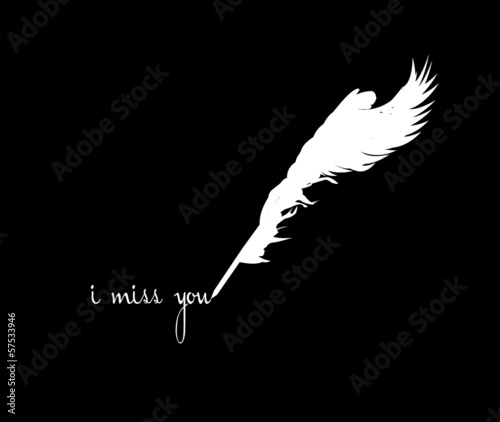 winged quill pen silhouette white over black