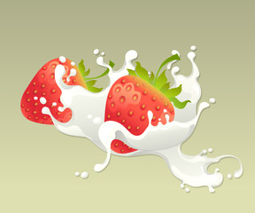 Milk splash with strawberry on light background.