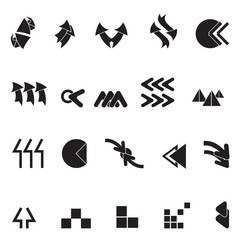 Arrow Icons Set - Isolated On White Background - Vector