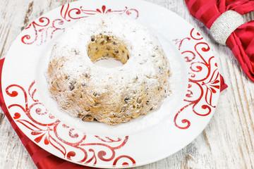 Traditional Christmas cake with raisins