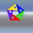 Farbfuenfecklogo  im Rahmen