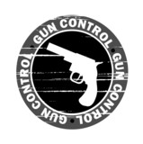 grunge gun control stamp poster