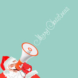 Santa Claus with a megaphone