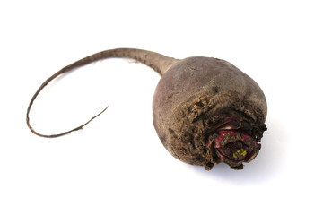 Red beet on white background