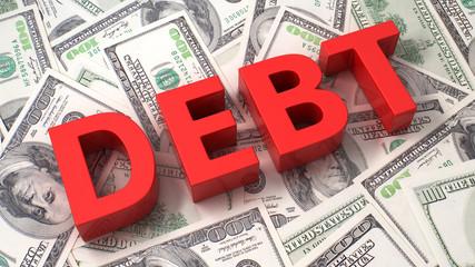 Debt on the dollar background