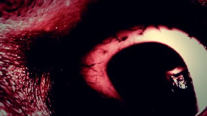 Old man zombie eyes distortion red nightmare