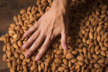 Hands with almonds