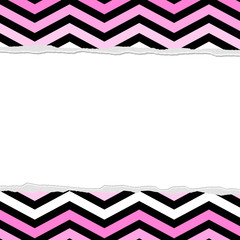 Pink, White and Black Chevron Torn Background for your message o