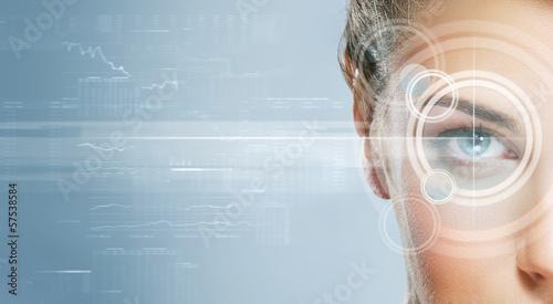 Leinwandbild Motiv Close-up portrait of young and beautiful woman with the virtual