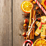 Christmas homemade gingerbread cookie and spices - 57538756