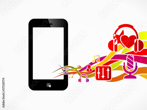 Multimedia phone abstract concept illustration