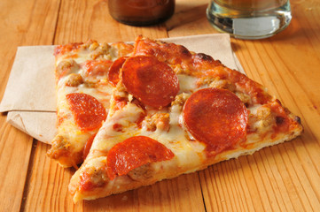 Pepperoni and sausage pizza