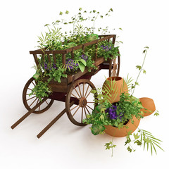 Old Wooden Cart  Decorated with Plants in 3D