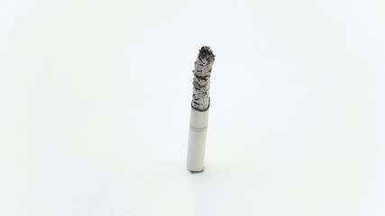 Cigarette burning and smoking time lapse, isolated on white.